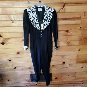 1980s D.J. Summers Black Ribbed & Leopard Print Pa